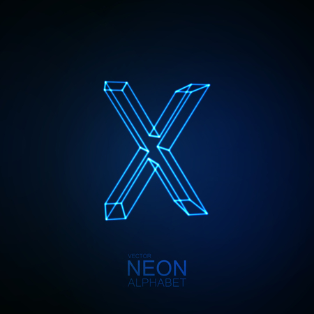 Neon 3D letter X. Typographic element. Part of glow neon alphabet. Vector illustration