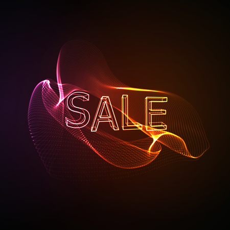 event marketing: Sale. Neon 3D sign with glowing wave of particles. Typographic vector illustration. Marketing event