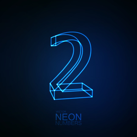 Neon 3D number 2. Typographic element. Part of glow neon alphabet. Digit two. Vector illustration Illustration