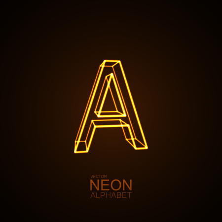 Neon 3D letter A. Typographic vector element for design. Part of glow neon alphabet. Vector illustration