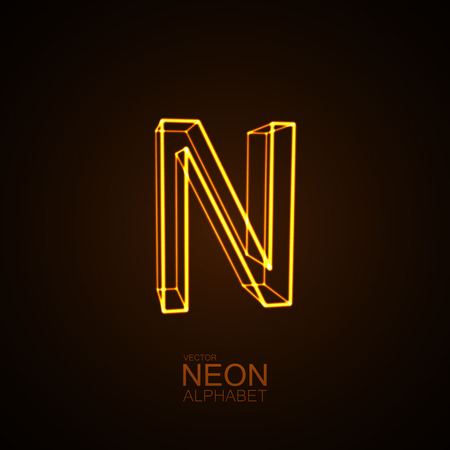 Neon 3D letter N. Typographic vector element for design. Part of glow neon alphabet. Vector illustration