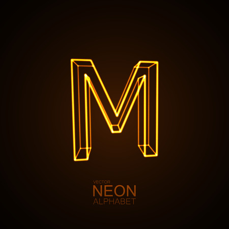 Neon 3D letter M. Typographic vector element for design. Part of glow neon alphabet. Vector illustration Illustration