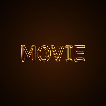 blockbuster: Movie neon sign. Vector typographical neon illustration.