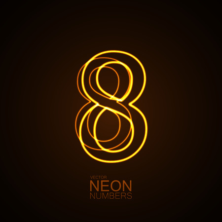 Neon 3D number 8. Typographic vector element for design. Part of glow neon alphabet. Digit eight. Vector illustration Illustration