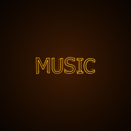 typographical: Music neon sign. Vector typographical neon illustration.