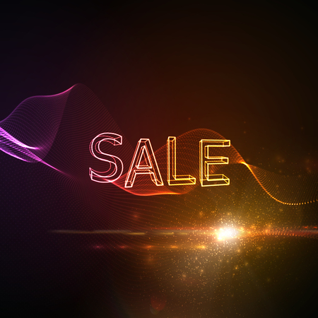 event marketing: Sale. Neon 3D sign with glowing wave of particles and lens flare light effect. Typographic vector illustration. Marketing event