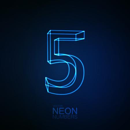 Neon 3D numero 5. Elemento tipografico. Parte dell'alfabeto di neon di incandescenza. Cifra cinque. Illustrazione vettoriale