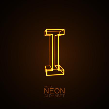 part of me: Neon 3D letter I. Typographic vector element for design. Part of glow neon alphabet. Vector illustration Vectores