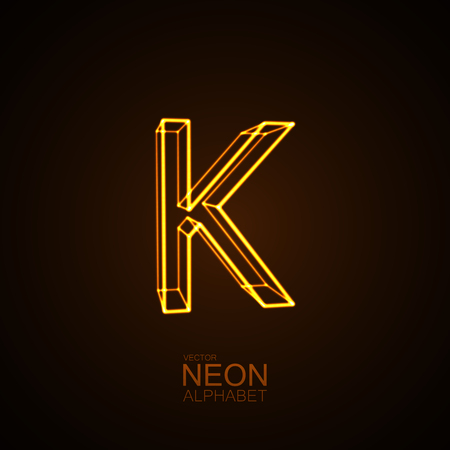 Neon 3D letter K. Typographic vector element for design. Part of glow neon alphabet. Vector illustration