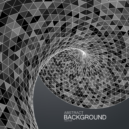 distort: 3d abstract polygonal twisted background with triangulation. Vector geometric illustration. Applicable for cover, placard, brochure, flyer, banner design Illustration