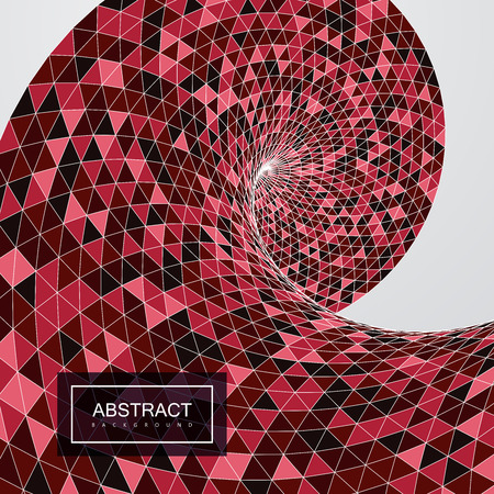background cover: 3d abstract polygonal twisted background with triangulated helix shape or wave. Vector geometric illustration. Applicable for cover, placard, brochure, flyer, banner design Illustration