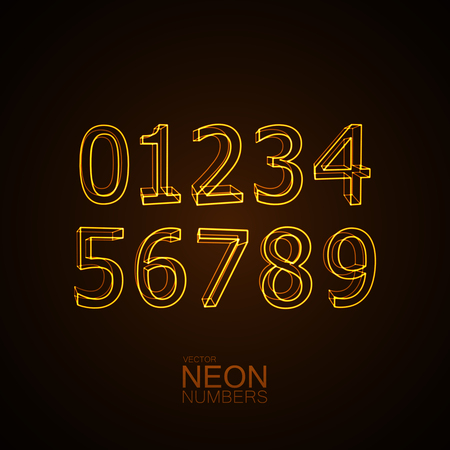 4 3 display: Neon 3D number set. Typography element set. Glowing neon characters. Neon digit collection. Vector illustration