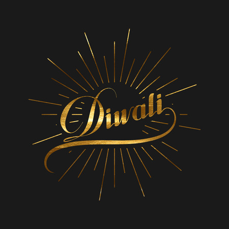 the light rays: Diwali. Holiday Vector Illustration Of Hindu Religion Event Deepavali. Lettering Diwali Label With Golden Paint Texture And Burst. Poster Template