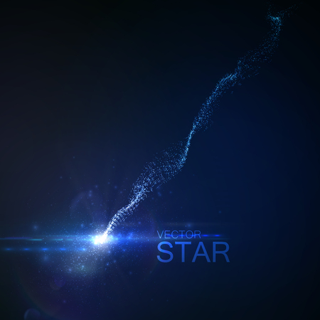 glowing star: Sparkling falling star with glowing trail of particles. Vector illustration. Light element for design