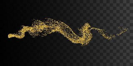 aromas: Golden smoke imitation. Abstract vector illustration of gold smoke stream on checkered transparent background. Glittering golden stream of sparkles Illustration