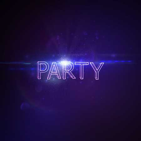 banner effect: Party 3D Neon Sign. Vector Glowing Illustration. Applicable For Party Flyer, Banner, Poster Designs. Entertainment Party Concept. Party 3D Sign With Lens Flare Effect