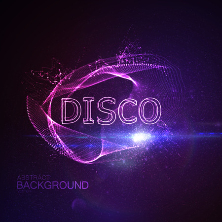 banner effect: Disco 3D Neon Sign. Vector Glowing Illustration. Applicable For Party Flyer, Banner, Poster Designs. Entertainment Disco Concept. Disco 3D Sign With Particles And Lens Flare Effect