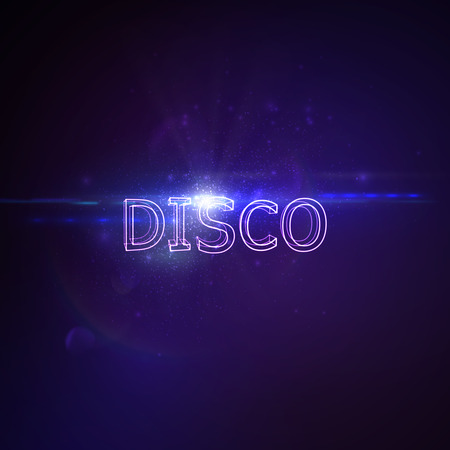 banner effect: Disco 3D Neon Sign. Vector Glowing Illustration. Applicable For Party Flyer, Banner, Poster Designs. Entertainment Disco Concept. Disco 3D Sign With Lens Flare Effect