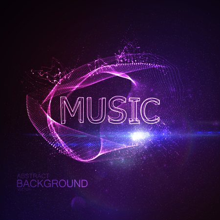 applicable: Music 3D Neon Sign. Vector Glowing Illustration. Applicable For Party Flyer, Banner, Poster Designs. Entertainment Concert Concept. Music 3D Sign With Particles And Lens Flare Effect