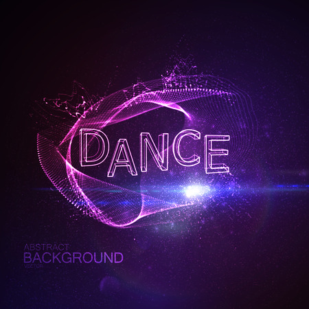 applicable: Dance 3D Neon Sign. Vector Glowing Illustration. Applicable For Party Flyer, Banner, Poster Designs. Entertainment Dance Concept. Dance 3D Sign With Splash Of Particles And Lens Flare Effect