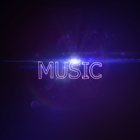 banner effect: Music 3D Neon Sign. Vector Glowing Illustration. Applicable For Party Flyer, Banner, Poster Designs. Entertainment Concert Concept. Music 3D Sign With Lens Flare Effect