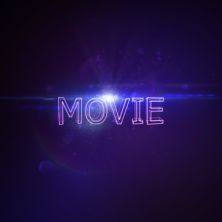 applicable: Movie 3D Neon Sign. Vector Glowing Illustration. Applicable For Cinema Flyer, Banner, Poster Designs. Entertainment Movie Concept. Movie 3D Sign With Lens Flare Effect