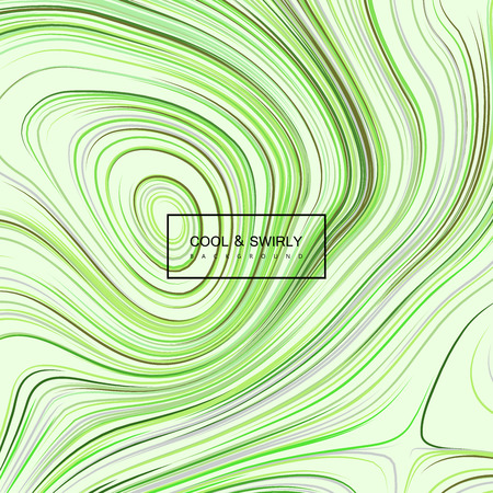 diffusion: Abstract artistic background with curled green iridescent pattern. Vector abstract illustration of diffusion concentric lines. Applicable for cover, banner, poster, product package eco designs. Herbal detox concept Illustration