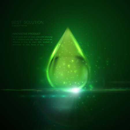 clinically: Collagen serum or oil essence green droplet with particles and lens flare light effect. Vector beauty illustration of clinically tested innovative product. Cosmetic skin or hair care treatment design