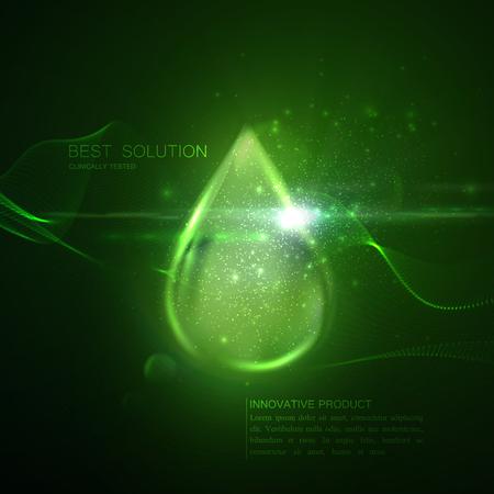 Collageen serum of olie essentie groene druppel met deeltjes en lens flare licht effect. Vector schoonheid illustratie van klinisch getest innovatief product. Cosmetische huid of haar zorg behandeling ontwerp Vector Illustratie