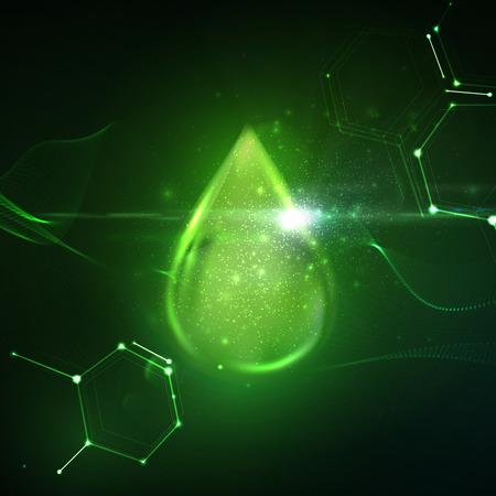 Bio goccioline di carburante con l'onda lucido, particelle e riflesso lente effetto di luce. illustrazione vettoriale di goccioline biodiesel. Concetto di carburante Bio