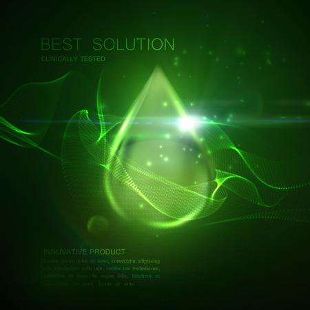 Collageen serum of olie essentie groene druppel met deeltjes en lens flare licht effect. Vector schoonheid illustratie van klinisch getest innovatief product. Cosmetische huid of haar zorg behandeling ontwerp