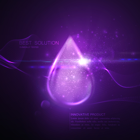 Collagen serum or oil essence purple droplet with particles and lens flare light effect. Vector beauty illustration of clinically tested innovative product. Cosmetic skin or hair care treatment design Illustration