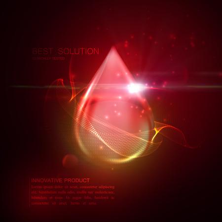 El colágeno de gotas de suero o esencia de aceite con partículas y reflejo en la lente del efecto luminoso. Vector ilustración de la belleza de suero de colágeno. diseño de tratamiento de cuidado cosmético de la piel. Las mujeres concepto de la belleza Ilustración de vector