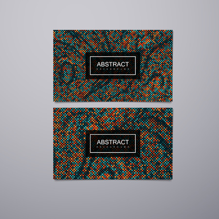 futurism: Greeting, invitation, business or gift cards design template with halftone mosaic pattern. Vector illustration. Branding stationery design