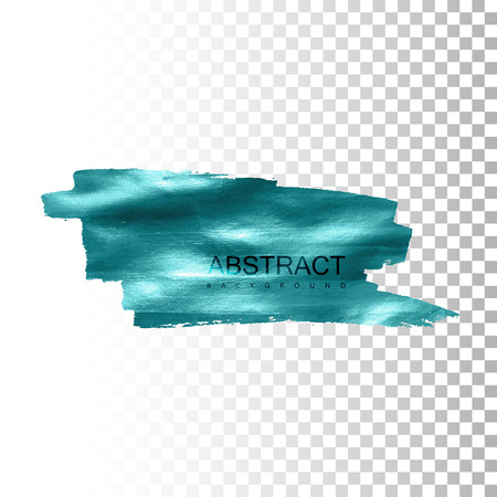 transparent background: Glowing paint stain banner. Vector paint brush strokes. Abstract glittering textured stain. Vector illustration of a blue foil banner or label on transparent checkered background
