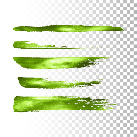 Green metallic paint brush stroke set. Vector paint brush stroke collection. Abstract glittering textured brush strokes. Vector illustration of a metallic foil banners