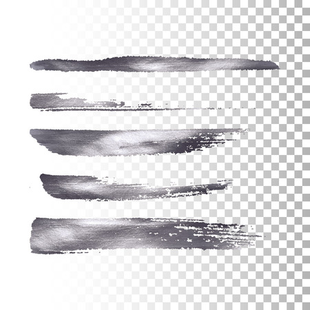 Silver metallic paint brush stroke set. Vector paint brush stroke collection. Abstract glittering textured brush strokes. Vector illustration of a metallic foil banners