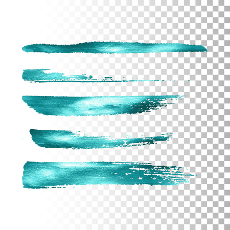 stroke: Azure metallic paint brush stroke set. Vector paint brush stroke collection. Abstract glittering textured brush strokes. Vector illustration of a turquoise metallic foil banners