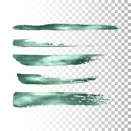 brush stroke: Metallic paint brush stroke set. Vector paint brush stroke collection. Abstract glittering textured brush strokes. Vector illustration of a turquoise metallic foil banners Illustration
