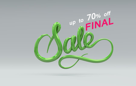 Sale Sign. Vector 3D lettering. Vector illustration of 3D Sale Label. Advertising banner or poster design template. Final Sale up to 70% off banner