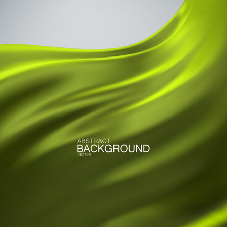 velvet ribbon: Green olive color silk fabric. Vector illustration with green olive color satin or silk fabric. Vector silk textile