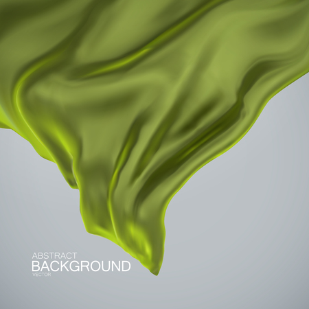olive green: Green olive color silk fabric. Vector illustration with green olive color satin or silk fabric. Vector silk textile