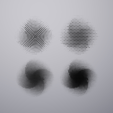 applicable: Halftone pattern stains. Vector illustration of textured halftone rotating stains. Grunge halftone background applicable for banner, print fabric design