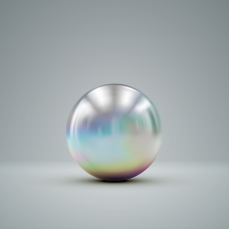 3D metallic sphere with iridescent reflections. Vector realistic illustration with silver core or ball
