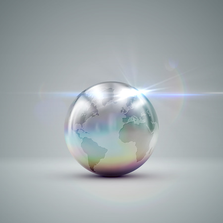 metallic: Metallic Earth globe. 3D metallic sphere with iridescent reflections and lens flare light effect. Vector realistic illustration with silver globe Illustration