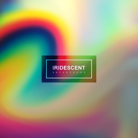 Fluid iridescent multicolored background. Vector illustration of iridescent rainbow fluids. Holographic neon wavy effect. Applicable for flyer, banner, poster, brochure, cover. Spectrum colors