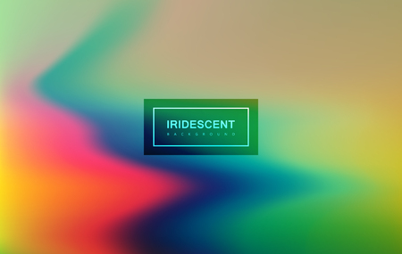 applicable: Fluid iridescent multicolored background. Vector illustration of iridescent rainbow fluids. Holographic neon effect. Applicable for flyer, banner, poster, brochure, cover. Spectrum colors
