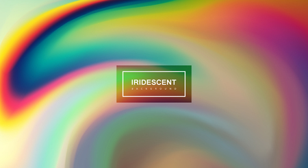 nacre: Fluid iridescent multicolored background. Vector illustration of iridescent rainbow fluids. Holographic neon effect. Applicable for flyer, banner, poster, brochure, cover. Spectrum colors