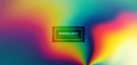 Fluid iridescent multicolored background. Vector illustration of iridescent rainbow fluids. Holographic neon effect. Applicable for flyer, banner, poster, brochure, cover. Spectrum colors. Light decay