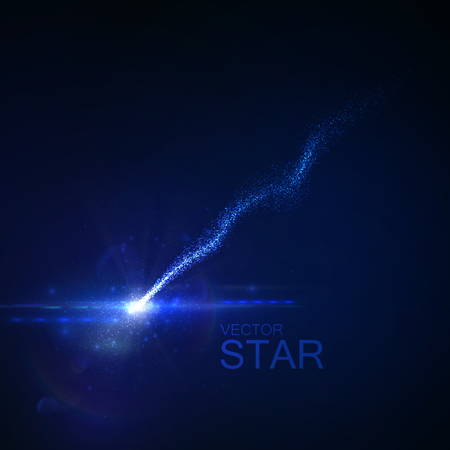 falling star: Sparkling falling star with glowing trail of particles. Vector illustration. Light element for design